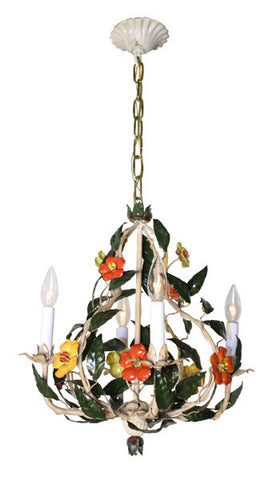 Antique Circa 1940 Four Light Handpainted Leaf and Floral Chandelier