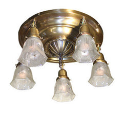 Antique Circa 1910 Five Light Cast Iron Sheraton Centre Body Flush Mount and Pressed Glass Star Cut Shades