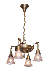 Circa 1915 Antique Four Light Cast Iron Fixture With Polychrome Arms And Antique Beaded Oval Pressed Glass Shades