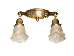 Circa 1915 Antique Two Light Cast Arm Flush Mount with Pressed Glass Starcut Shades