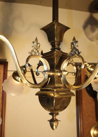 Antique Circa 1905 Four Light, Transitional Arts and Crafts Edwardian Fixture