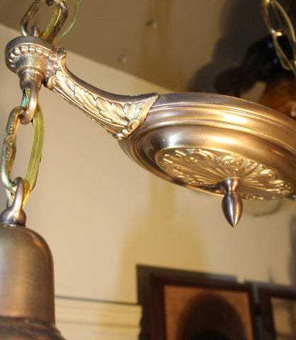 Circa 1915 Two Light, Chain Suspended Pan Light with Embossed Acanthus Bottom