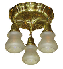 Circa 1915 Three Light, Sheffield Flush Mount with Starcut Etched Shades