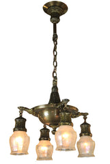 Antique Circa 1910 Edwardian 4 light Pan with Antique Shades and Original Finish