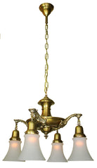 Antique Circa 1920 4 light Pan Light with Cast Acanthus Arms - Antique Brass