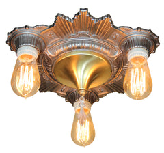 Circa 1930 Antique Three Light Electrolier Art Deco Cast Sunburst Flush Mount.