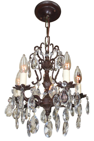 Antique Circa 1930 Cast Brass and Crystal Petite Spanish Chandelier