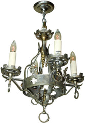 Antique Circa 1920 Four Light Tudor Revival Chandelier with Nickel Plated on Cast Brass Finish