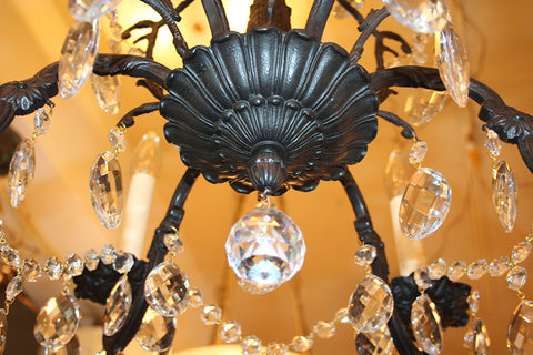 Antique Circa 1930 Six Light Cast Spanish and Crystal Chandelier