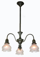 Antique Circa 1910, Three Light Art Nouveau Influenced Fixture with Decorative Embossed Detailing.
