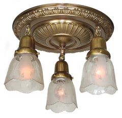 Antique Circa 1910,  Three Light Art Nouveau Inspired Embossed Flush Mount Fixture with Antique Stencil Etched Shades.