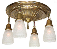 PAIR AVAILABLE - Antique Circa 1910,  Four Light Embossed Sheffield Flush Mount Fixtures with Star Cut Glass Shades.