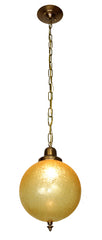 SET AVAILABLE - 1970s Amber Crackle Glass Ball Shades fitted on Handmade Antique Brass Pendants.