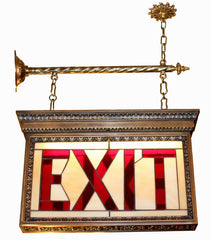 antique exit sign bronze