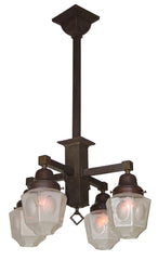 Antique Circa 1905, Four Light, Converted Gas and Electric Early Arts and Crafts Fixture with Antique Sided Shades.