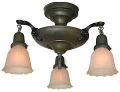 Antique Circa 1920, Three Light, Close Mount Pan Fixture with Cast Floral Arms.