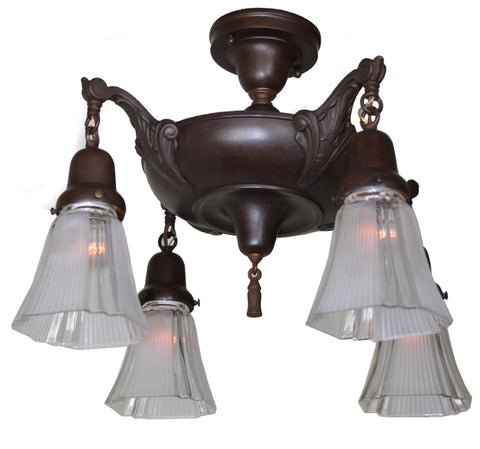 Antique Circa 1920, Four Light, Close Mount Pan Fixture with Decorative Cast Urn Arms.