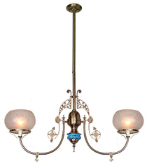Antique Circa 1880, Two Light, Incredible Eastlake Ceiling Fixture with Longwy Porcelain and Antique Scenic Gas Shades.