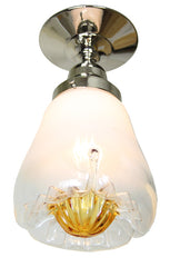 Circa 1950, Single Light, Murano Mazzega Blown Glass Fixture on a Custom Flush Mount Holder.