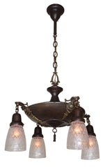 Antique Circa 1915, Four Light, Empire Style Pan Fixture with Cast Ovid Arms and Pressed Star Shades.