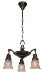 Antique Circa 1920, Three Light, Empire Style Pan Fixture with Cast Scroll Acanthus Arms and Antique Pressed Glass Shades.