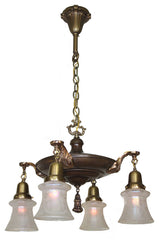 Antique Circa 1915, Exceptional Four Light, Intricately Cast Pan Fixture with Scroll Shell Arms and Antique Acid Etched Shades.