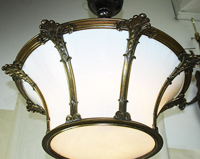 Incredible Antique Circa 1925 Bronze 8 Panel Art Deco Semi Flush Mount
