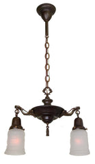 Antique Circa 1920 Two Light Pan Fixture with Ringed Center Body and Cast Acanthus Arms.