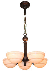 Antique Circa 1930 Five Light Art Deco Fixture with Ringed Custard Bowl Shades.