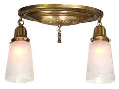 Antique Circa 1910, Two Light Oval Flush Mount Fixture with Embossed Sheraton Details and Antique Shades.