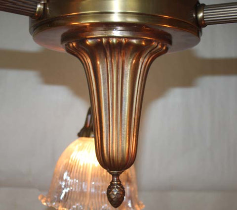 Antique Circa 1910 Three Light Sheffield Fixture with Antique Signed Holophane Glass Shades.