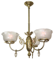 Antique Circa 1880 Three Light Victorian Converted Gas Scroll Fixture with Antique Stencil Etched Floral Glass Shades.