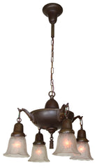 Antique Circa 1920 Four Light Edwardian Pan Fixture with Cast Floral Arms.