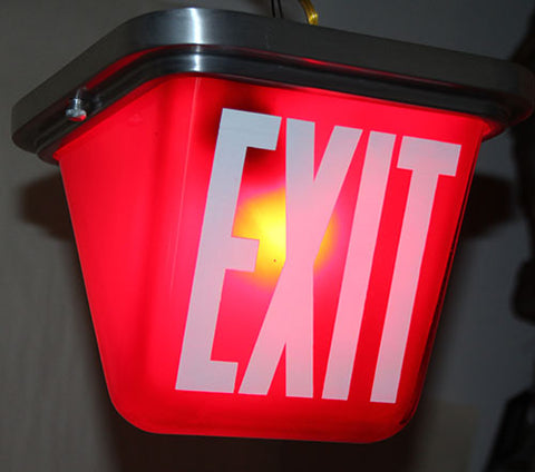 Vintage Circa 1940s Exit Light Flush Mount Made by Electrolier in Montreal - SET AVAILABLE