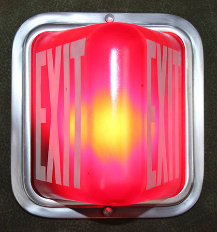 Vintage Circa 1940s Exit Light Wall Mount Made by Electrolier in Montreal - SET AVAILABLE