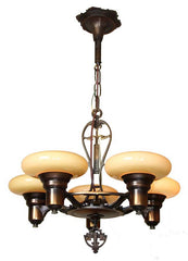 Antique Circa 1930 Five Light, Art Deco Copper Flashed Fixtures with Ringed Center Body Details, and Custard Bowl Shades.