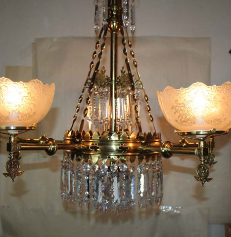 Antique Circa 1880s Exceptional Five Light, Aesthetic Movement Converted Gasolier with Stencil Etched Floral Gas Shades.