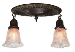 Antique Circa 1910 Two Light Embossed Oval Flush Mount Fixtures with Antique Pressed Glass HolophaneShades - PAIR AVAILABLE