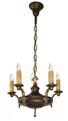 Antique Circa 1920 Five Light Pan Chandelier with Elongated Cast Fleurette Acanthus Arms.