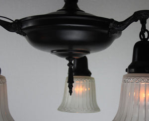 Antique Circa 1920 Three Light Pan Fixture with Cast Acanthus Arms and Antique Cut Glass Shades.