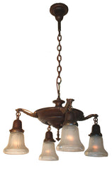 Antique Circa 1920 Four Light Pan Fixture with Cast Neoclassical Arms and Antique Starcut Glass Shades.