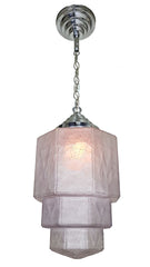 Antique Circa 1930s Single Light Art Deco Crackle Glass Skyscraper Pendant Fixture with Original Stepped Holder.
