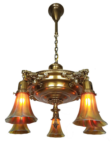 Incredible Antique Circa 1910 Five Light Large Pan Fixture with Cast Ovid Arms and Signed Steuben Gold Aurene Art Glass Shades.