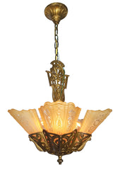Antique Circa 1930, All Original, Five Light, Art Deco Slipper Shade Fixture with Fountain Motifs and Floral Canary Shades.