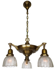 Antique Circa 1915, Three Light Pan Fixture with Cast Acanthus and Ovid Arms and Antique Acid Etched Shades.