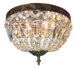 Circa 1950, Four Light Mid Century Crystal Basket Flush Mount Fixture with Acanthus Details.