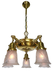 Antique Circa 1920, Five Light Pan Fixture with Cast Acanthus Arms and Antique Pressed Glass Shades.