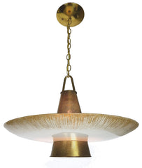 Circa 1950, Single Light,  Gerald Thurston Signed Lightolier Space Age Mid Century Pendant Fixture.
