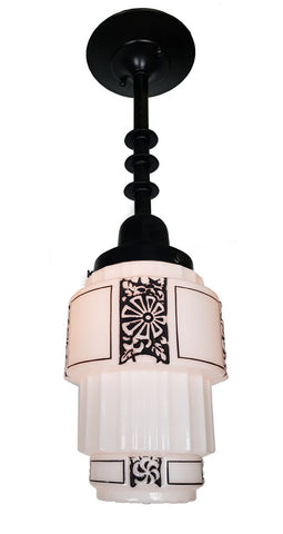 Circa 1930, Single Light, Art Deco Stepped Milk Glass Pendant Fixture with Black Stencil Details.