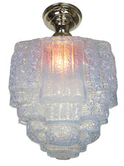 Circa 1930, Single Light Art Deco Flush Mount Fixture with Original Antique Ice Blue Stepped Shade.